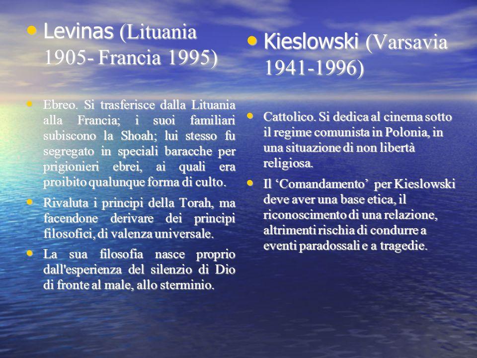 Levinas (Lituania 1905- Francia 1995) Levinas (Lituania 1905- Francia 1995) Ebreo. Si trasferisce dalla Lituania alla Francia; i suoi familiari subisc