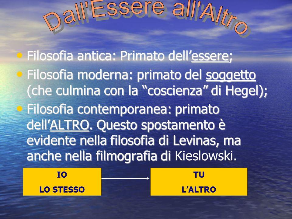 Filosofia antica: Primato dellessere; Filosofia antica: Primato dellessere; Filosofia moderna: primato del soggetto (che culmina con la coscienza di H