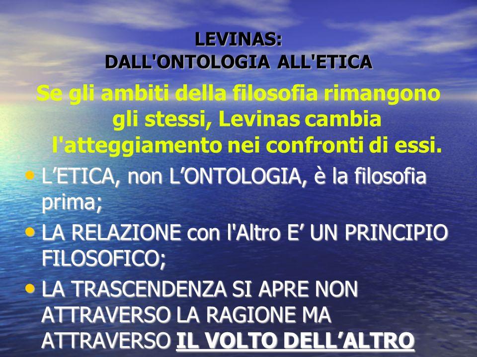LEVINAS: DALL'ONTOLOGIA ALL'ETICA Se gli ambiti della filosofia rimangono gli stessi, Levinas cambia l'atteggiamento nei confronti di essi. LETICA, no