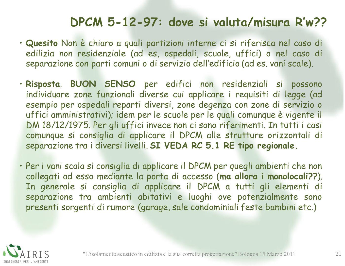 L isolamento acustico in edilizia e la sua corretta progettazione Bologna 15 Marzo 2011 21 DPCM 5-12-97: dove si valuta/misura Rw?.