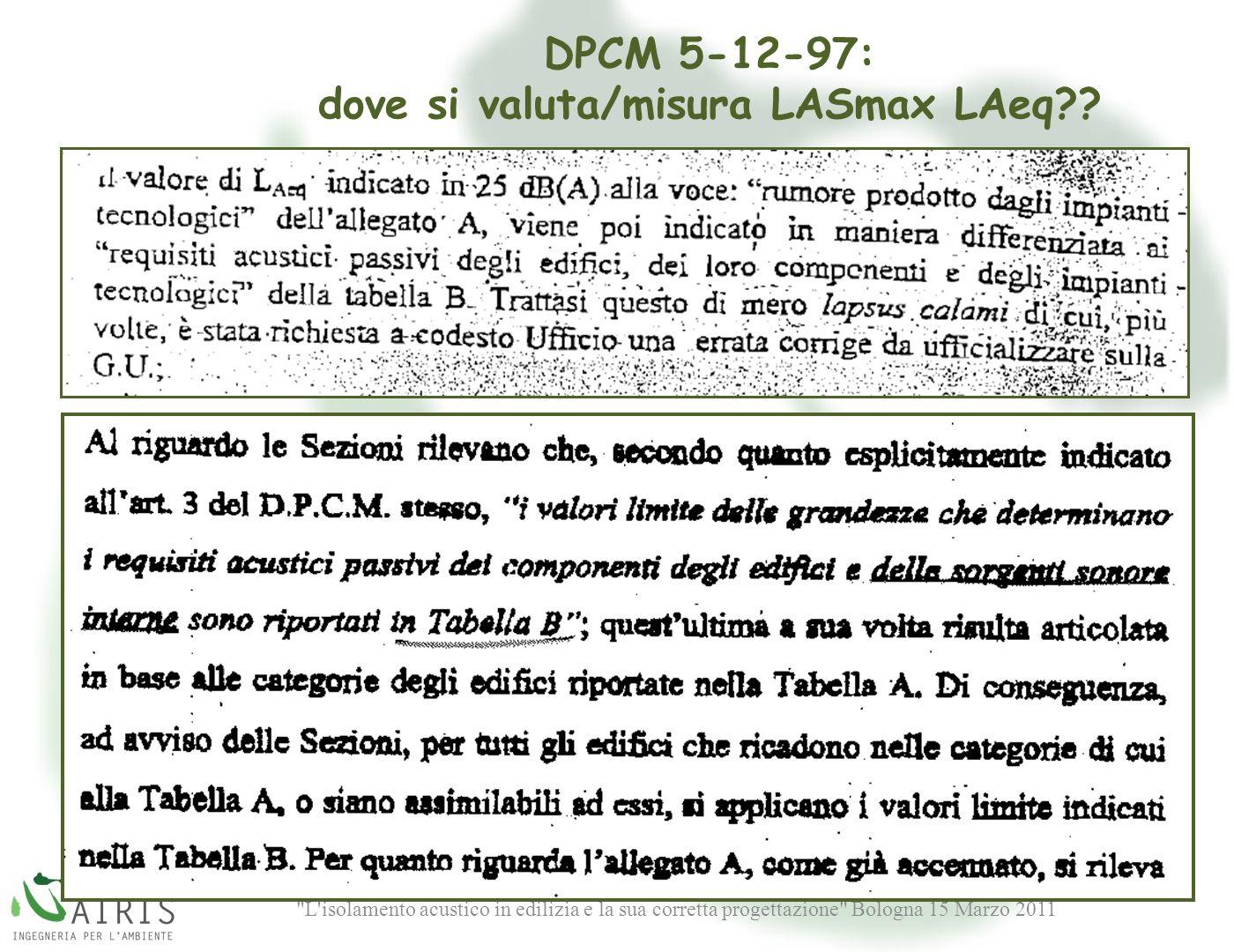 L isolamento acustico in edilizia e la sua corretta progettazione Bologna 15 Marzo 2011 DPCM 5-12-97: dove si valuta/misura LASmax LAeq?.