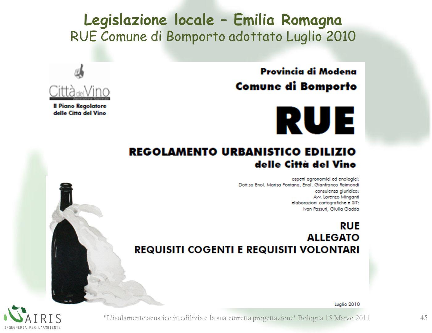 L isolamento acustico in edilizia e la sua corretta progettazione Bologna 15 Marzo 2011 45 Legislazione locale – Emilia Romagna RUE Comune di Bomporto adottato Luglio 2010