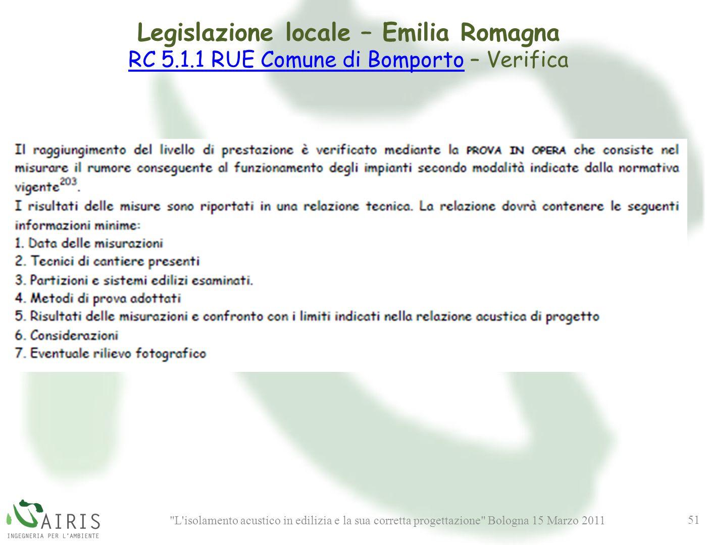 L isolamento acustico in edilizia e la sua corretta progettazione Bologna 15 Marzo 2011 51 Legislazione locale – Emilia Romagna RC 5.1.1 RUE Comune di BomportoRC 5.1.1 RUE Comune di Bomporto – Verifica