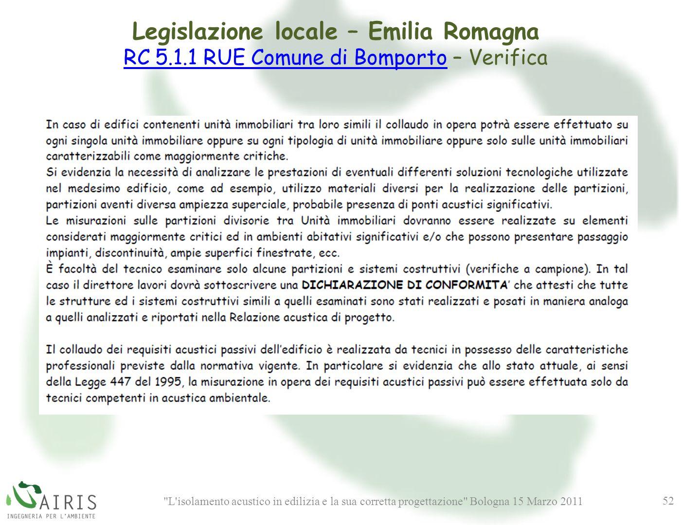 L isolamento acustico in edilizia e la sua corretta progettazione Bologna 15 Marzo 2011 52 Legislazione locale – Emilia Romagna RC 5.1.1 RUE Comune di BomportoRC 5.1.1 RUE Comune di Bomporto – Verifica
