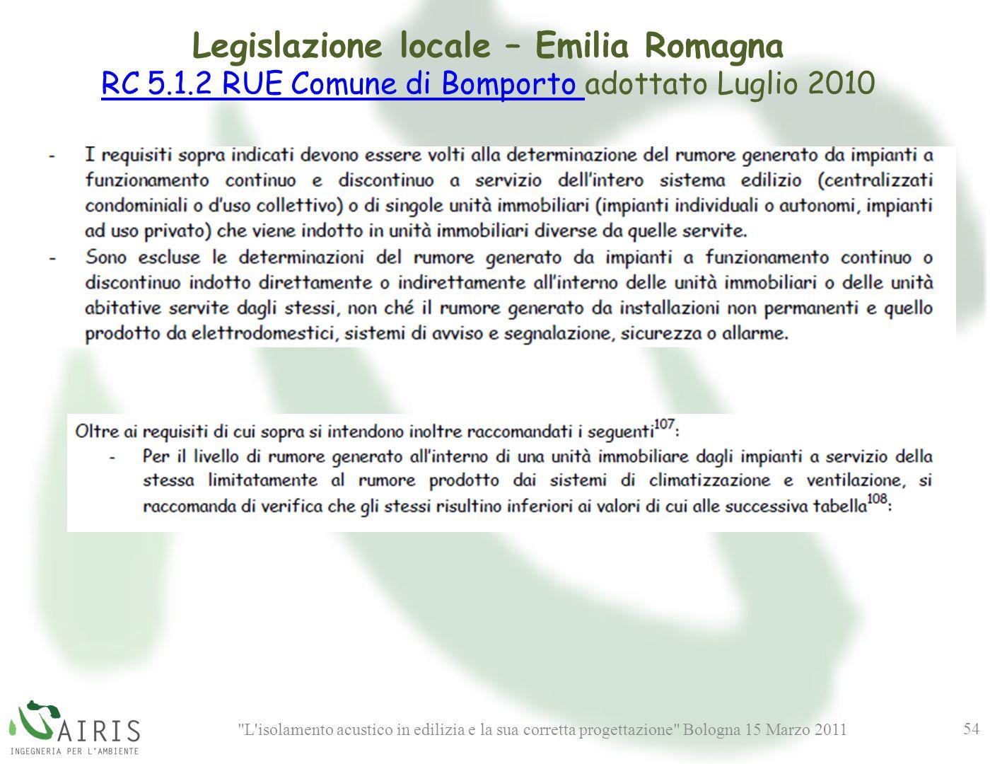 L isolamento acustico in edilizia e la sua corretta progettazione Bologna 15 Marzo 2011 54 Legislazione locale – Emilia Romagna RC 5.1.2 RUE Comune di Bomporto RC 5.1.2 RUE Comune di Bomporto adottato Luglio 2010