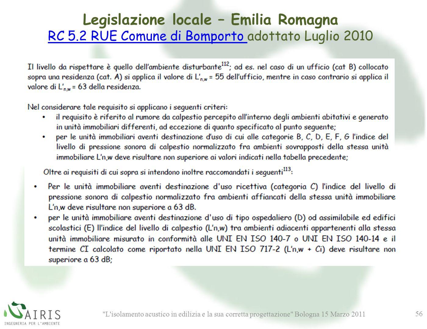 L isolamento acustico in edilizia e la sua corretta progettazione Bologna 15 Marzo 2011 56 Legislazione locale – Emilia Romagna RC 5.2 RUE Comune di Bomporto RC 5.2 RUE Comune di Bomporto adottato Luglio 2010