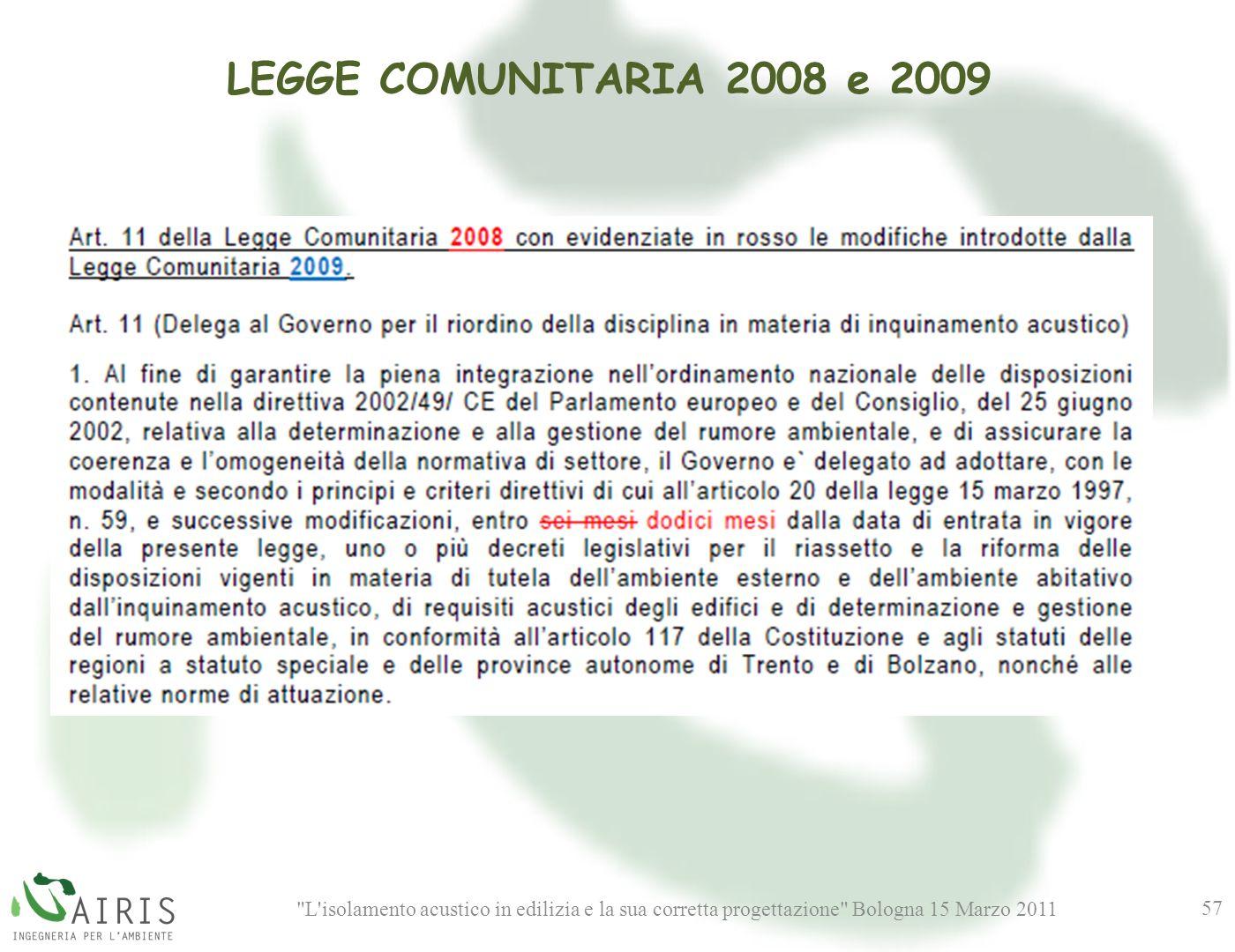 L isolamento acustico in edilizia e la sua corretta progettazione Bologna 15 Marzo 2011 57 LEGGE COMUNITARIA 2008 e 2009