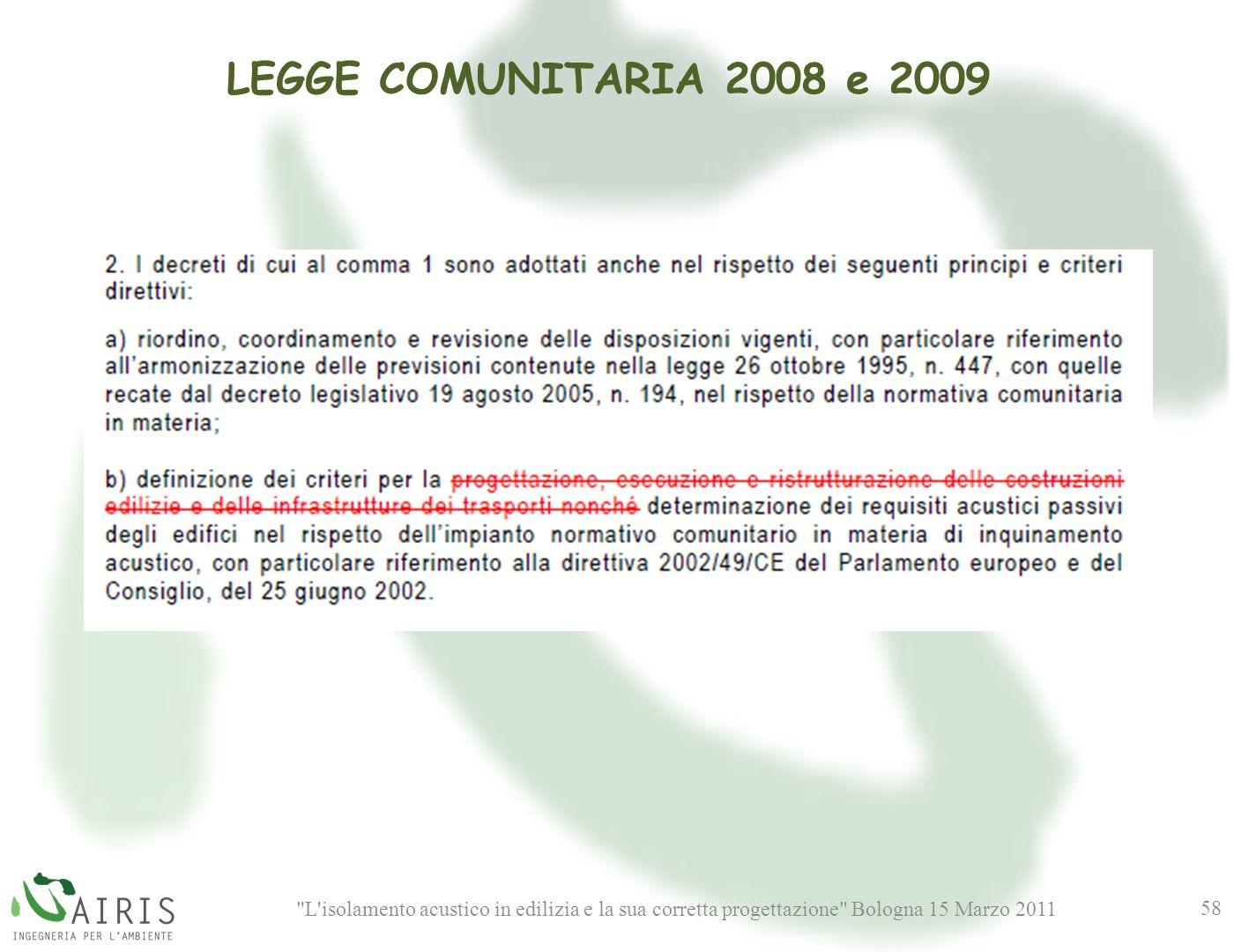 L isolamento acustico in edilizia e la sua corretta progettazione Bologna 15 Marzo 2011 58 LEGGE COMUNITARIA 2008 e 2009