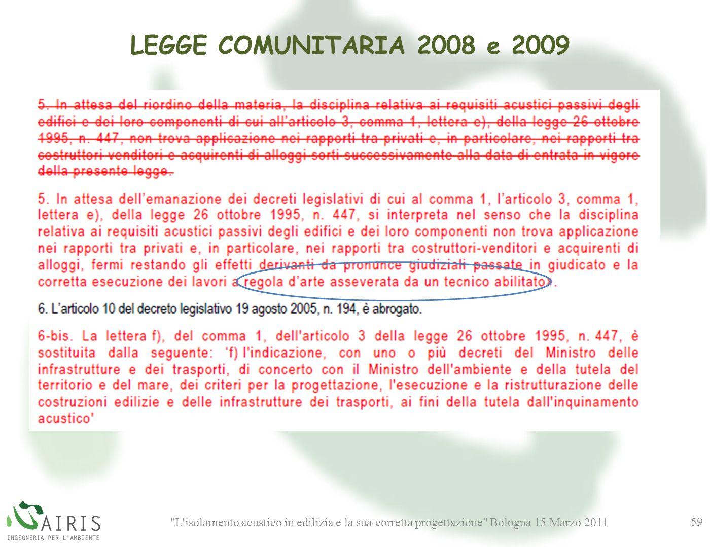 L isolamento acustico in edilizia e la sua corretta progettazione Bologna 15 Marzo 2011 59 LEGGE COMUNITARIA 2008 e 2009
