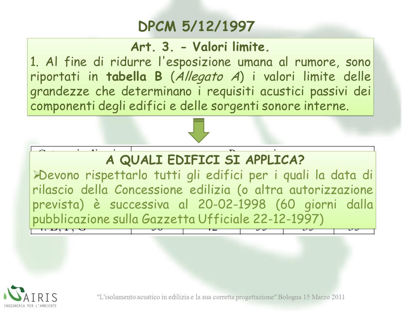 L isolamento acustico in edilizia e la sua corretta progettazione Bologna 15 Marzo 2011 DPCM 5/12/1997 Art.