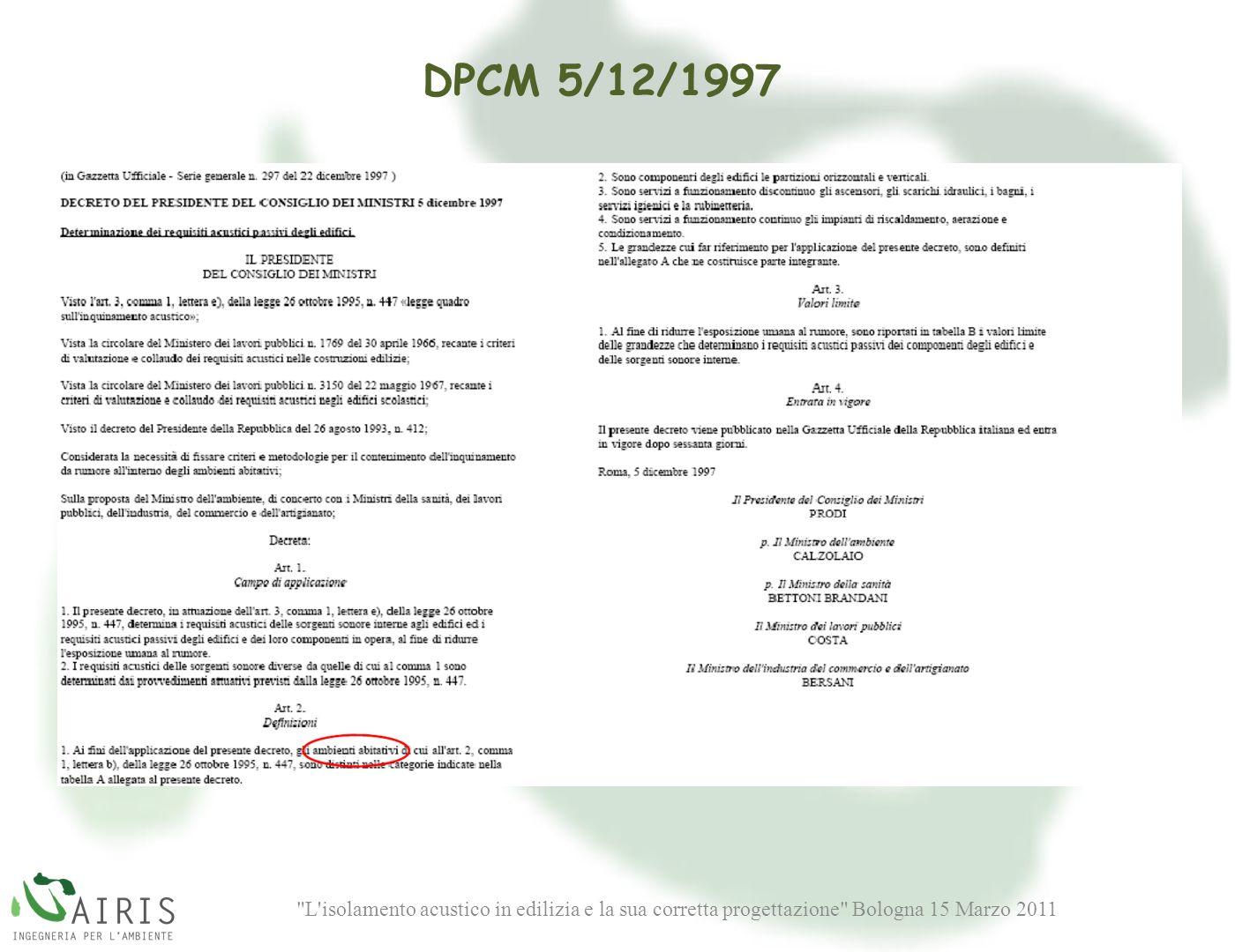 L isolamento acustico in edilizia e la sua corretta progettazione Bologna 15 Marzo 2011 DPCM 5/12/1997