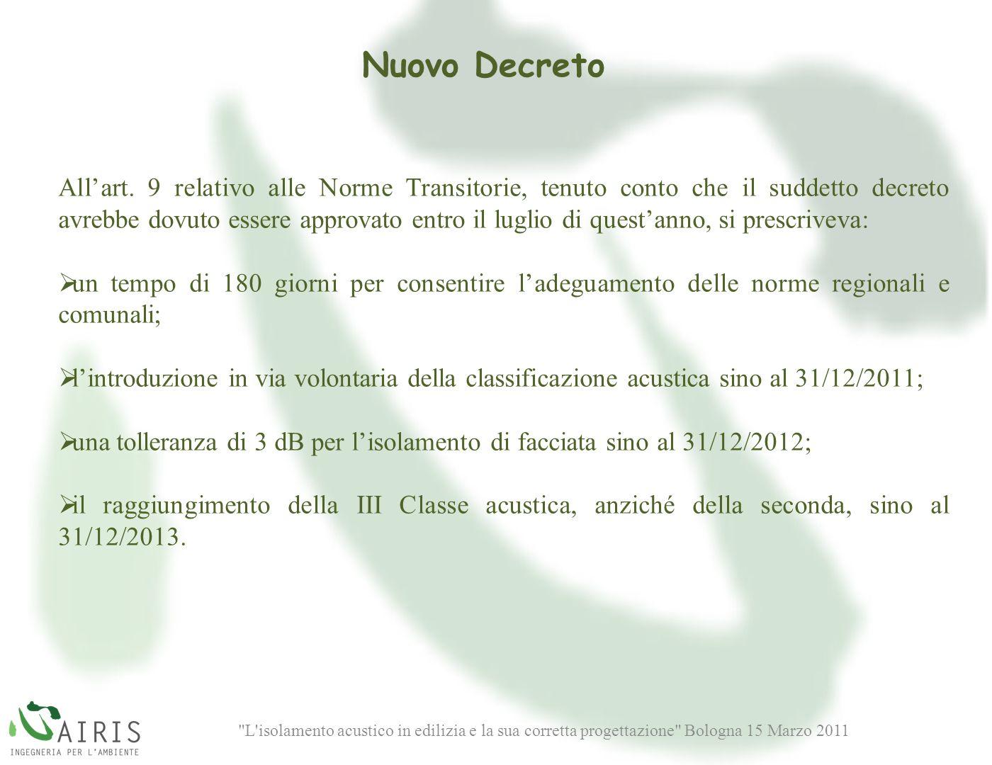L isolamento acustico in edilizia e la sua corretta progettazione Bologna 15 Marzo 2011 Nuovo Decreto Allart.