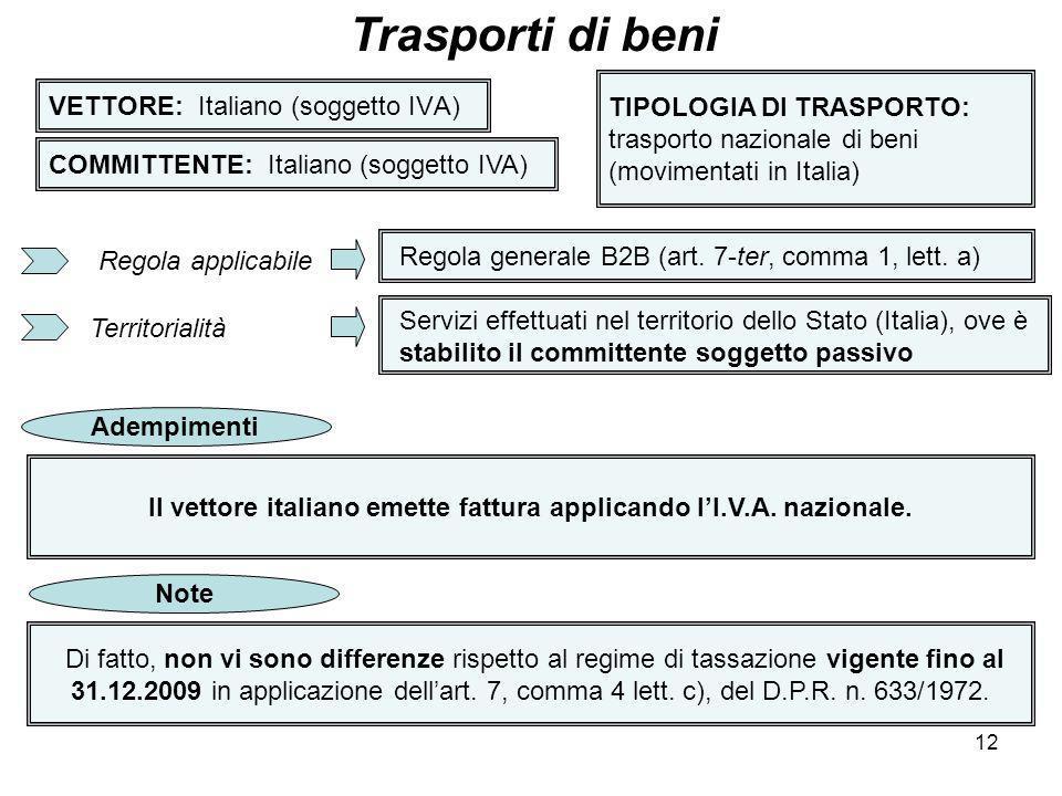 12 VETTORE: Italiano (soggetto IVA) Trasporti di beni COMMITTENTE: Italiano (soggetto IVA) TIPOLOGIA DI TRASPORTO: trasporto nazionale di beni (movime
