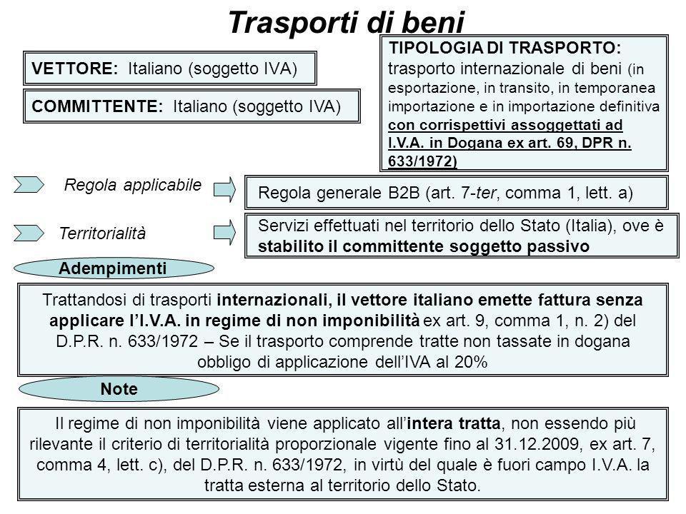 13 VETTORE: Italiano (soggetto IVA) Trasporti di beni COMMITTENTE: Italiano (soggetto IVA) TIPOLOGIA DI TRASPORTO: trasporto internazionale di beni (i