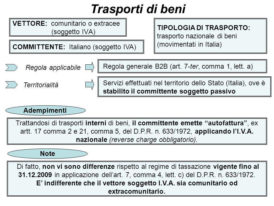 16 VETTORE: comunitario o extracee (soggetto IVA) Trasporti di beni COMMITTENTE: Italiano (soggetto IVA) TIPOLOGIA DI TRASPORTO: trasporto nazionale d