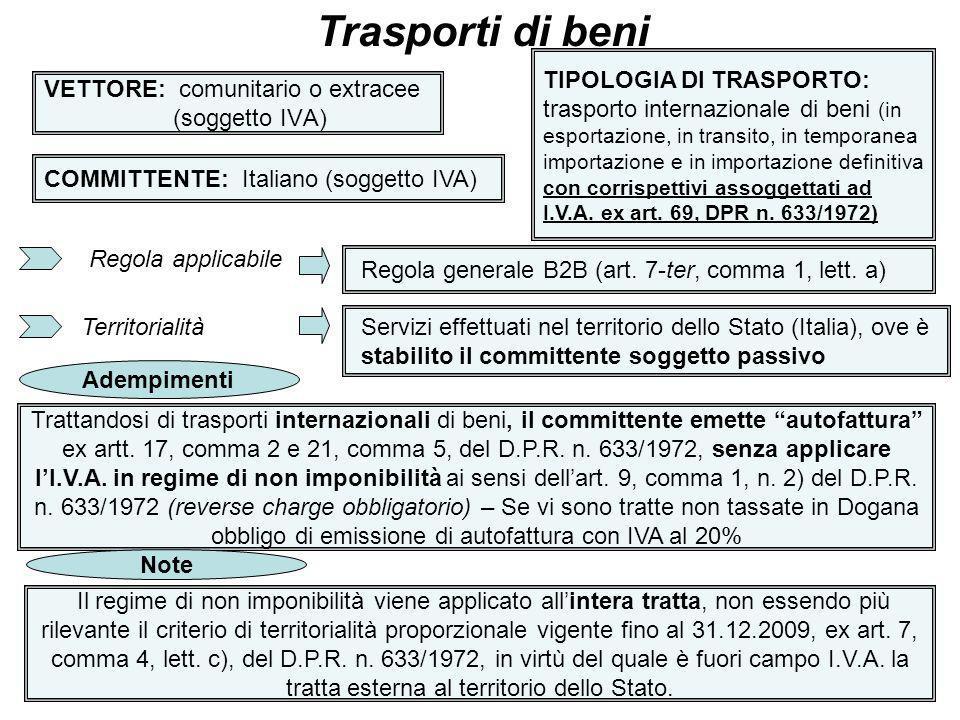 17 VETTORE: comunitario o extracee (soggetto IVA) Trasporti di beni COMMITTENTE: Italiano (soggetto IVA) TIPOLOGIA DI TRASPORTO: trasporto internazion