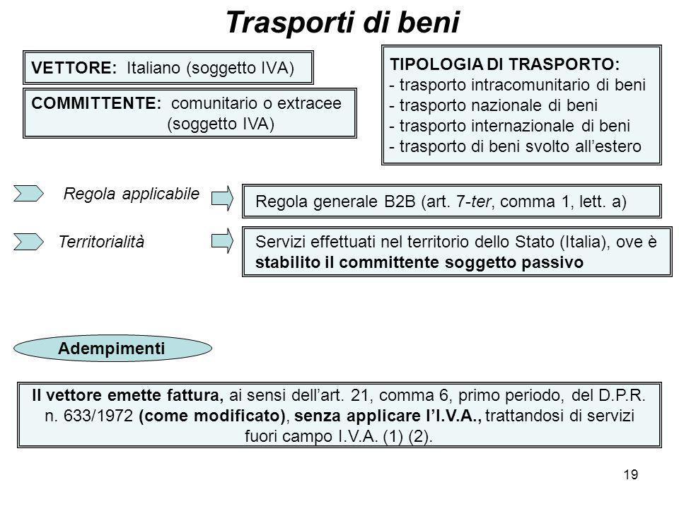 19 VETTORE: Italiano (soggetto IVA) Trasporti di beni COMMITTENTE: comunitario o extracee (soggetto IVA) TIPOLOGIA DI TRASPORTO: - trasporto intracomu