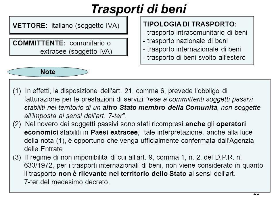 20 VETTORE: italiano (soggetto IVA) Trasporti di beni COMMITTENTE: comunitario o extracee (soggetto IVA) TIPOLOGIA DI TRASPORTO: - trasporto intracomu
