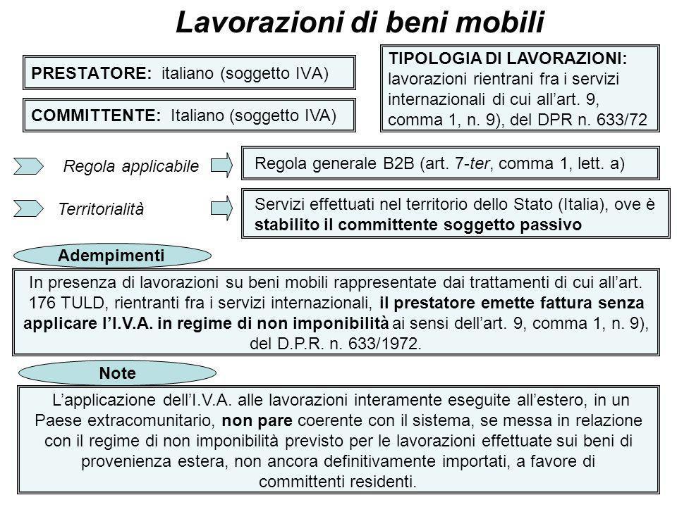 26 PRESTATORE: italiano (soggetto IVA) Lavorazioni di beni mobili COMMITTENTE: Italiano (soggetto IVA) TIPOLOGIA DI LAVORAZIONI: lavorazioni rientrani