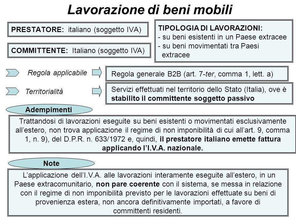 27 PRESTATORE: italiano (soggetto IVA) Lavorazione di beni mobili COMMITTENTE: Italiano (soggetto IVA) TIPOLOGIA DI LAVORAZIONI: - su beni esistenti i