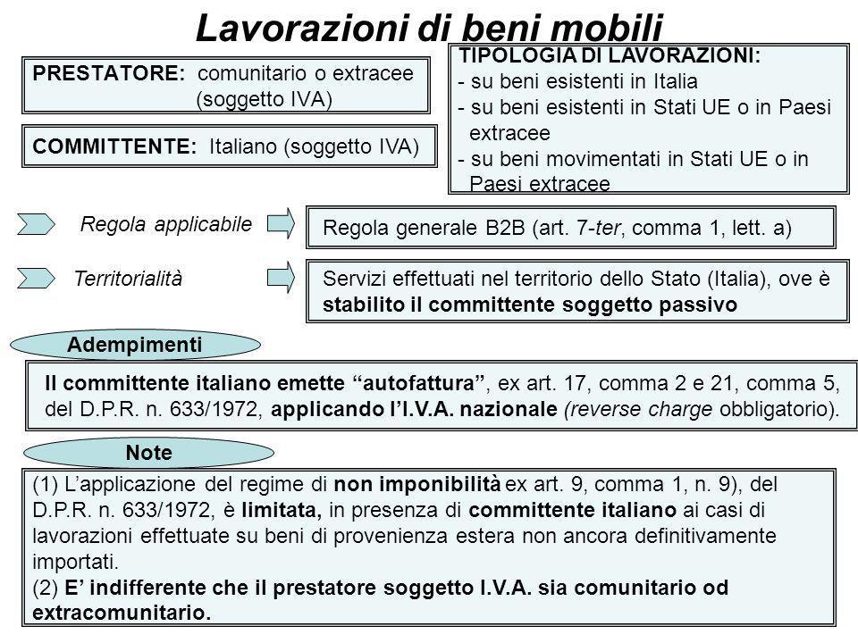 28 PRESTATORE: comunitario o extracee (soggetto IVA) Lavorazioni di beni mobili COMMITTENTE: Italiano (soggetto IVA) TIPOLOGIA DI LAVORAZIONI: - su be