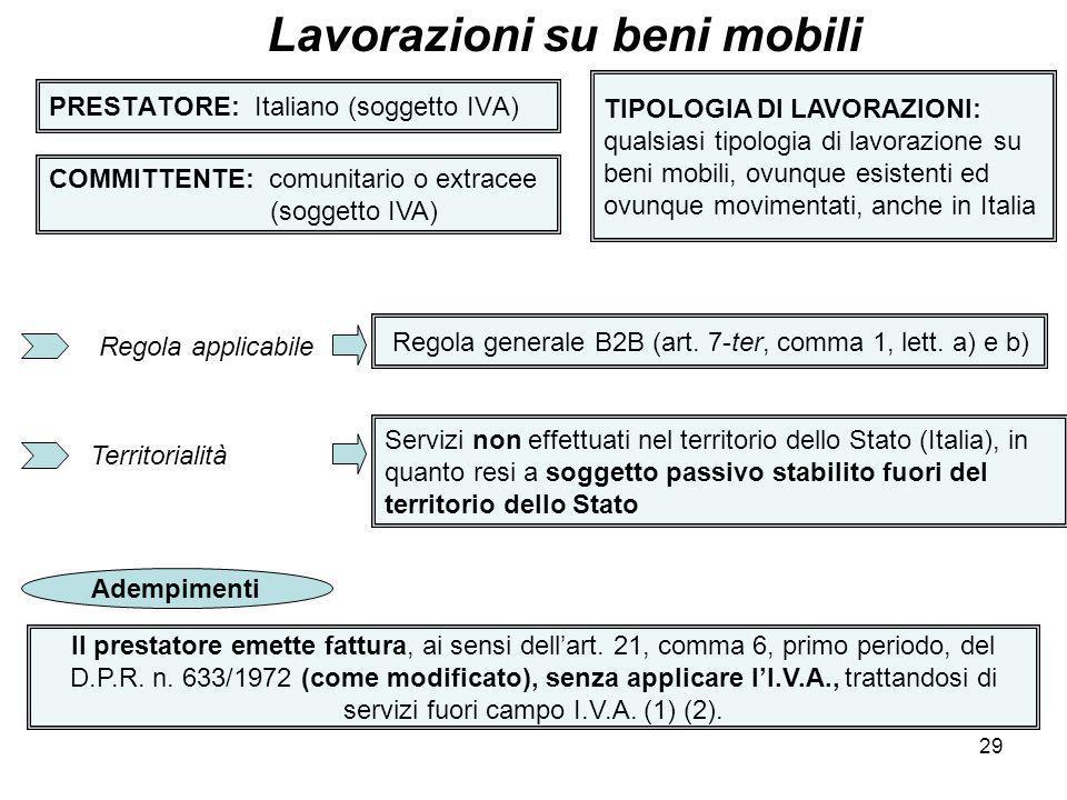29 PRESTATORE: Italiano (soggetto IVA) Lavorazioni su beni mobili COMMITTENTE: comunitario o extracee (soggetto IVA) TIPOLOGIA DI LAVORAZIONI: qualsia