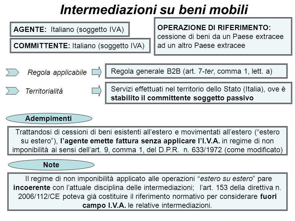 4 AGENTE: comunitario o extracee (soggetto IVA) Intermediazioni su beni mobili COMMITTENTE: Italiano (soggetto IVA) OPERAZIONE DI RIFERIMENTO: - cessioni di beni in Italia - cessioni di beni dallItalia ad uno Stato membro UE Regola applicabile Territorialità Regola generale B2B (art.