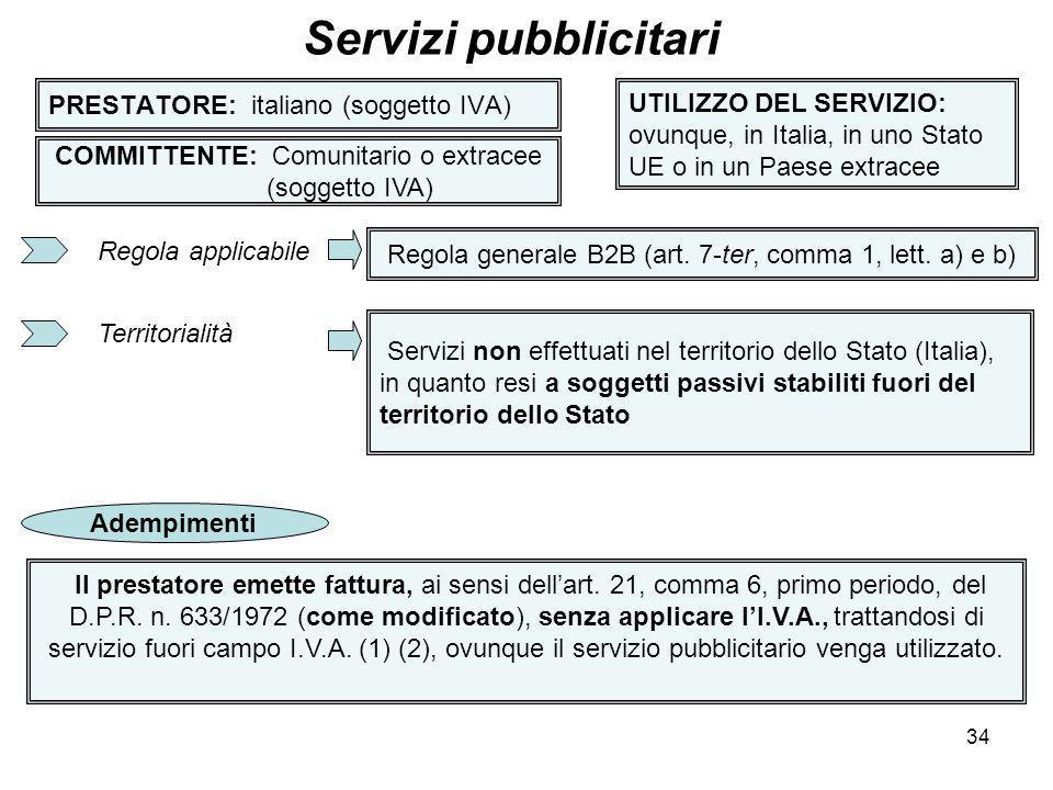 34 PRESTATORE: italiano (soggetto IVA) Servizi pubblicitari COMMITTENTE: Comunitario o extracee (soggetto IVA) UTILIZZO DEL SERVIZIO: ovunque, in Ital