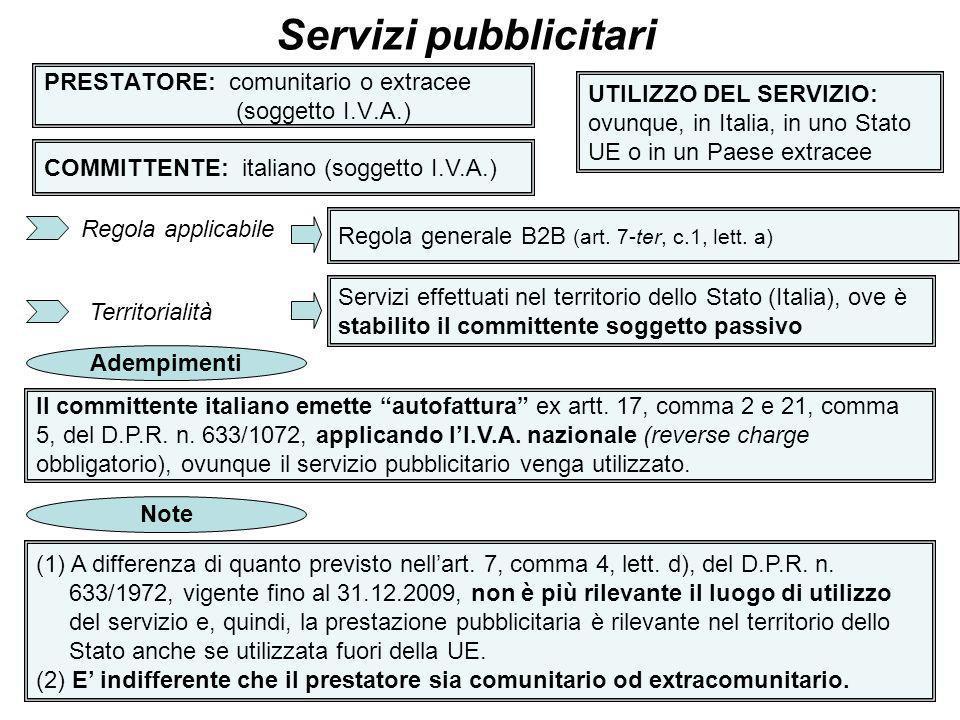 36 PRESTATORE: comunitario o extracee (soggetto I.V.A.) Servizi pubblicitari COMMITTENTE: italiano (soggetto I.V.A.) UTILIZZO DEL SERVIZIO: ovunque, i