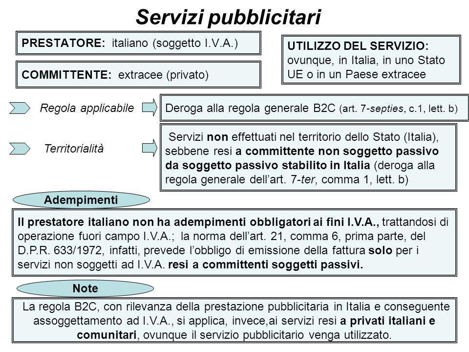 37 PRESTATORE: italiano (soggetto I.V.A.) Servizi pubblicitari COMMITTENTE: extracee (privato) UTILIZZO DEL SERVIZIO: ovunque, in Italia, in uno Stato