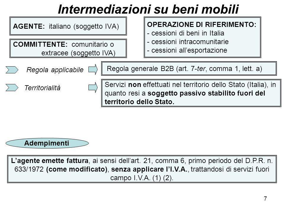 8 AGENTE: italiano (soggetto IVA) Intermediazioni su beni mobili COMMITTENTE: comunitario o extracee (soggetto IVA) OPERAZIONE DI RIFERIMENTO: - cessioni di beni in Italia - cessioni intracomunitarie - cessioni allesportazione (1) In effetti, la disposizione dellart.