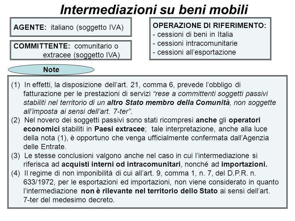 9 AGENTE: italiano (soggetto IVA) Intermediazioni su beni mobili COMMITTENTE: Italiano,comunitario o extracee (privato) OPERAZIONE DI RIFERIMENTO: cessioni o acquisti di beni non effettuati nel territorio dello Stato (effettuati in Stato UE o extracee) Regola applicabile Territorialità Deroga alla regola generale B2B (art.