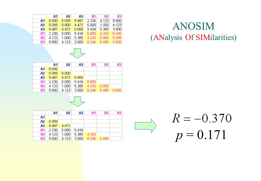 ANOSIM (ANalysis Of SIMilarities) p = 0.171