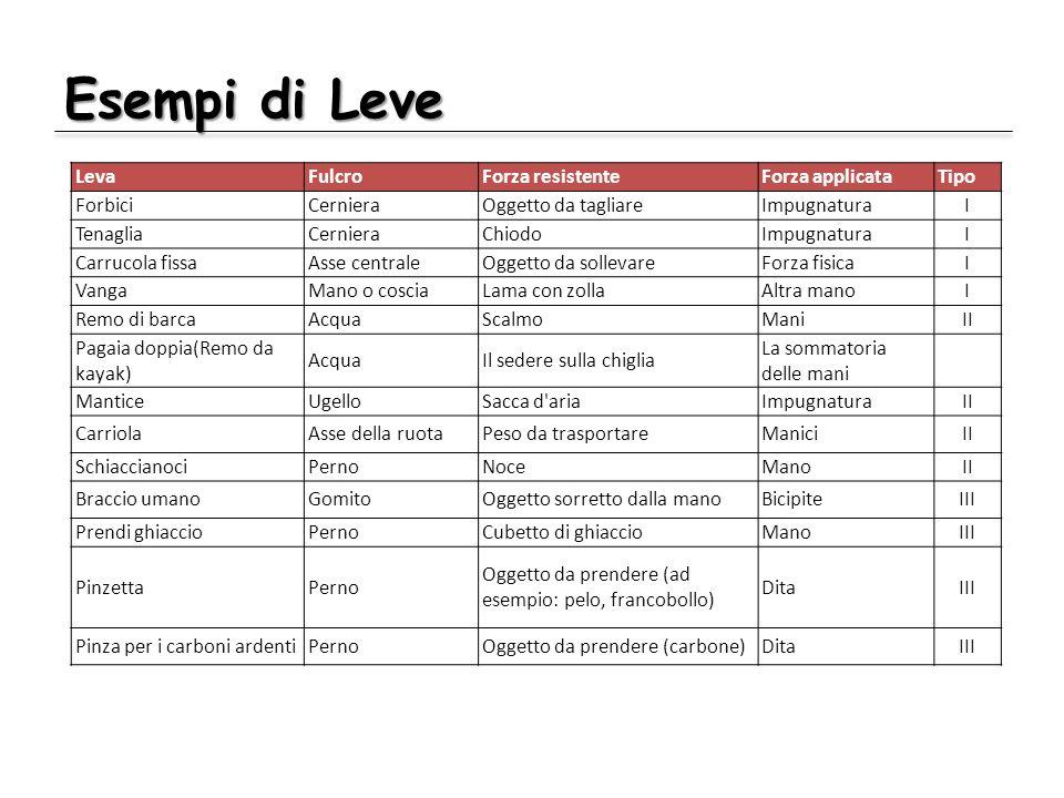 Esempi di Leve LevaFulcroForza resistenteForza applicataTipo ForbiciCernieraOggetto da tagliareImpugnaturaI TenagliaCernieraChiodoImpugnaturaI Carruco