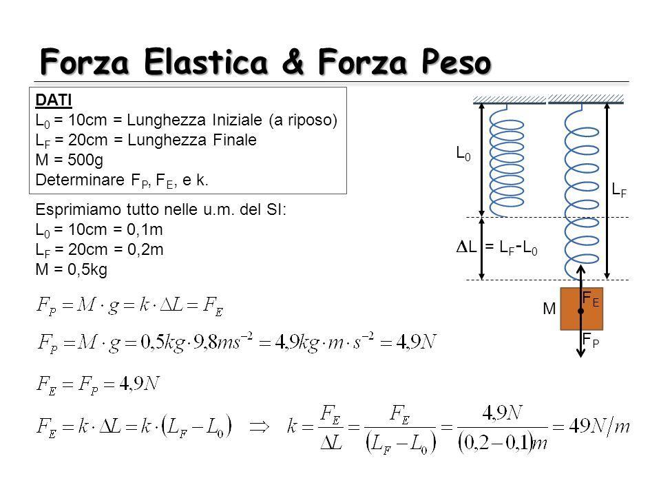 Forza Elastica & Forza Peso L0L0 LFLF L = L F - L 0 FEFE FPFP M DATI L 0 = 10cm = Lunghezza Iniziale (a riposo) L F = 20cm = Lunghezza Finale M = 500g