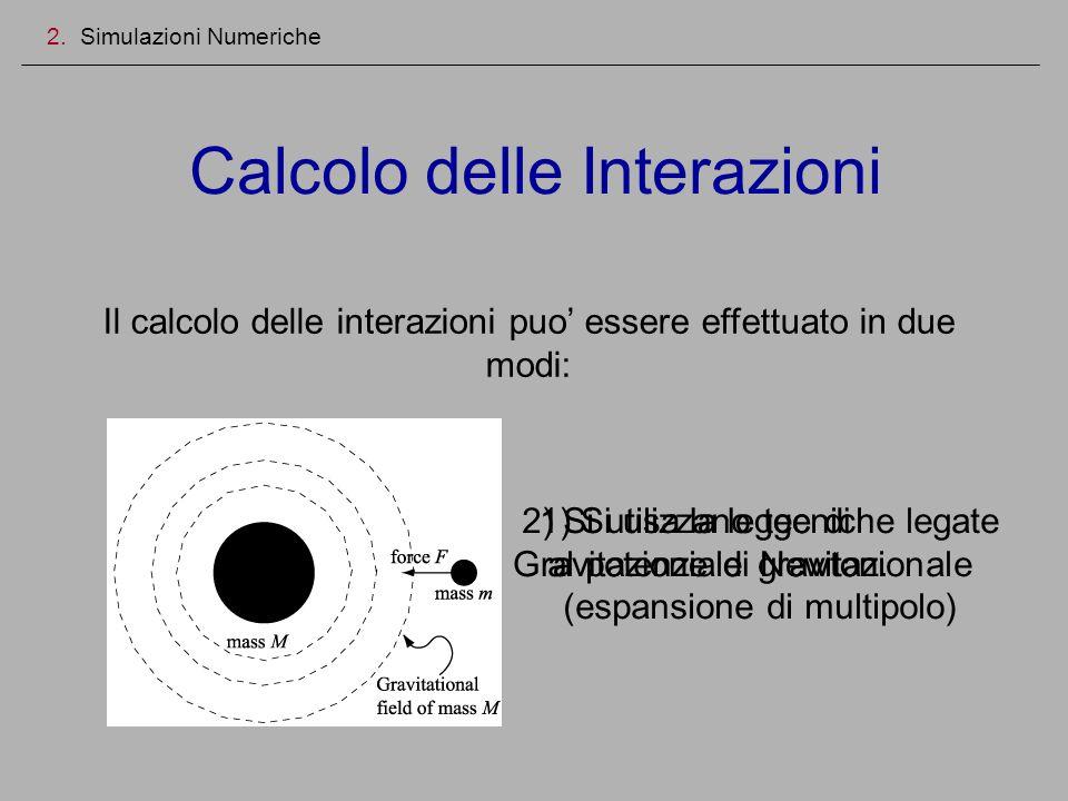 Calcolo delle Interazioni 2. Simulazioni Numeriche Il calcolo delle interazioni puo essere effettuato in due modi: 1) Si usa la legge di Gravitazione