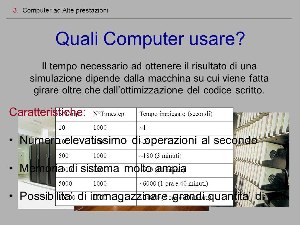 Quali Computer usare? 3. Computer ad Alte prestazioni Il tempo necessario ad ottenere il risultato di una simulazione dipende dalla macchina su cui vi
