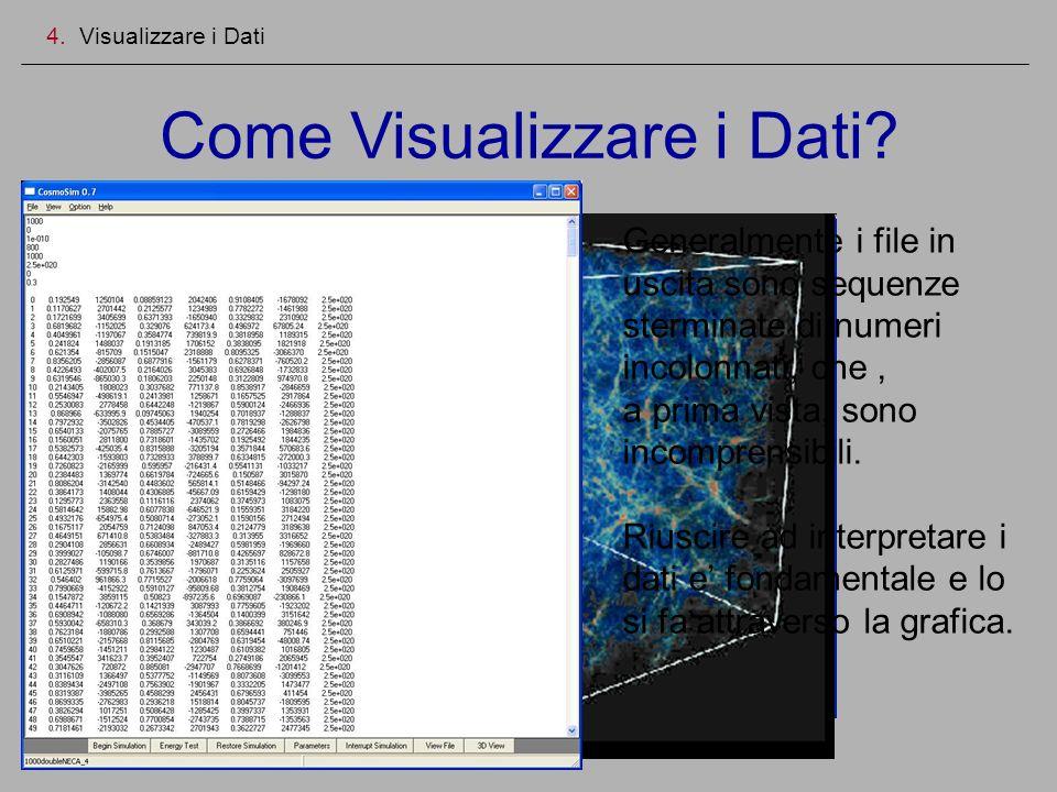 Come Visualizzare i Dati? 4. Visualizzare i Dati Generalmente i file in uscita sono sequenze sterminate di numeri incolonnati, che, a prima vista, son