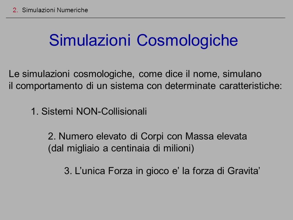Simulazioni Cosmologiche 2. Simulazioni Numeriche Le simulazioni cosmologiche, come dice il nome, simulano il comportamento di un sistema con determin