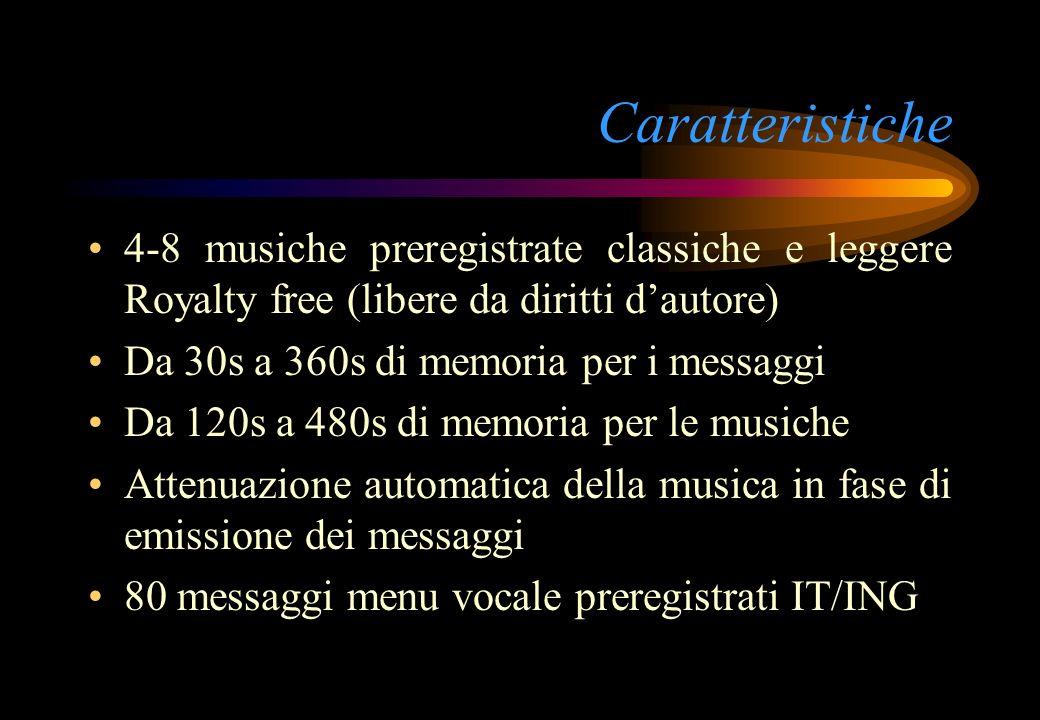 Caratteristiche 4-8 musiche preregistrate classiche e leggere Royalty free (libere da diritti dautore) Da 30s a 360s di memoria per i messaggi Da 120s