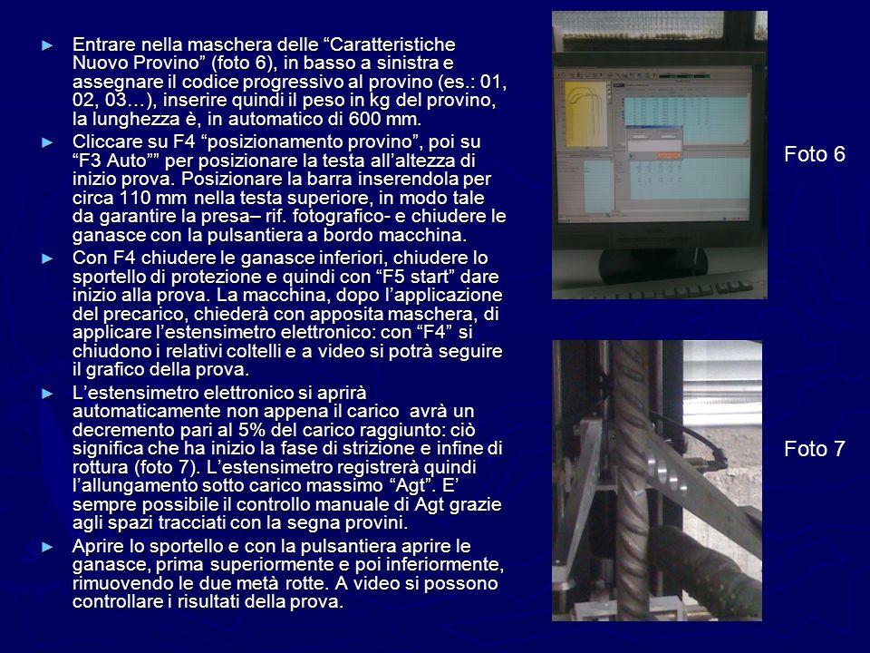 Entrare nella maschera delle Caratteristiche Nuovo Provino (foto 6), in basso a sinistra e assegnare il codice progressivo al provino (es.: 01, 02, 03