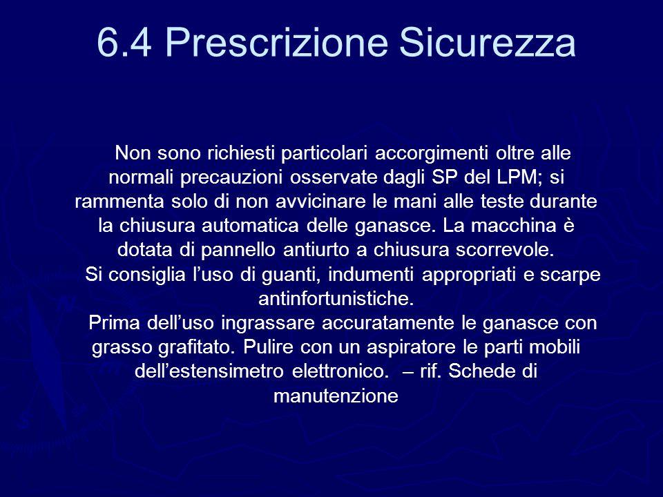 Non sono richiesti particolari accorgimenti oltre alle normali precauzioni osservate dagli SP del LPM; si rammenta solo di non avvicinare le mani alle