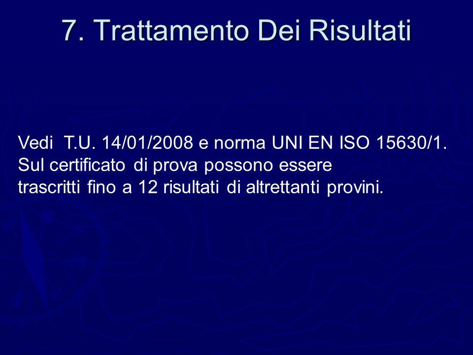7. Trattamento Dei Risultati Vedi T.U. 14/01/2008 e norma UNI EN ISO 15630/1. Sul certificato di prova possono essere trascritti fino a 12 risultati d
