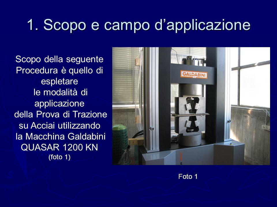 1. Scopo e campo dapplicazione Scopo della seguente Procedura è quello di espletare le modalità di applicazione della Prova di Trazione su Acciai util