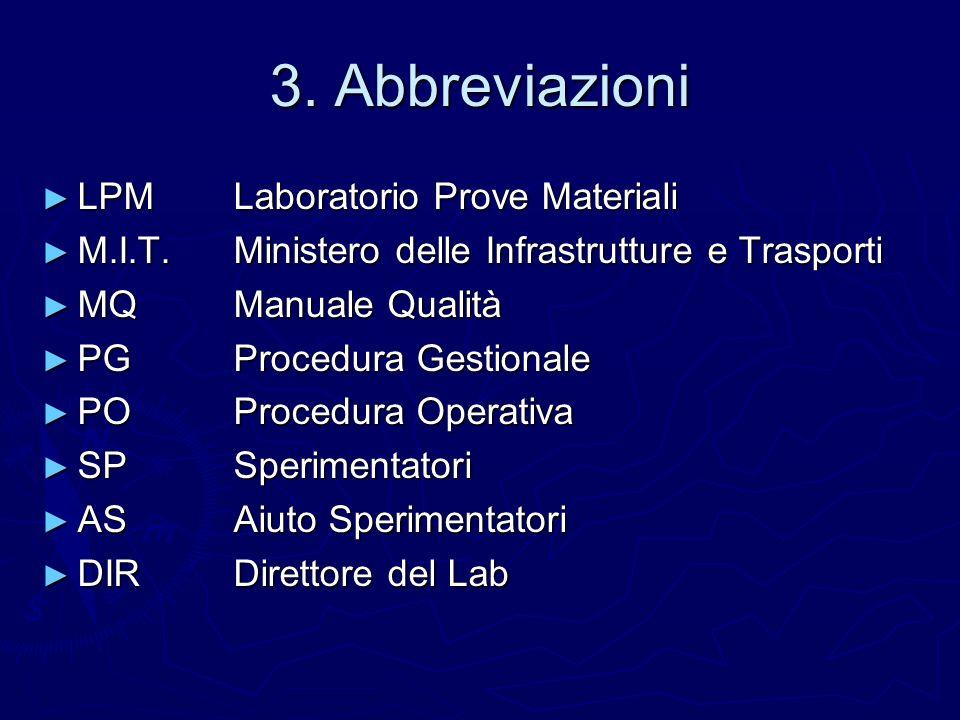 3. Abbreviazioni LPM Laboratorio Prove Materiali LPM Laboratorio Prove Materiali M.I.T.Ministero delle Infrastrutture e Trasporti M.I.T.Ministero dell