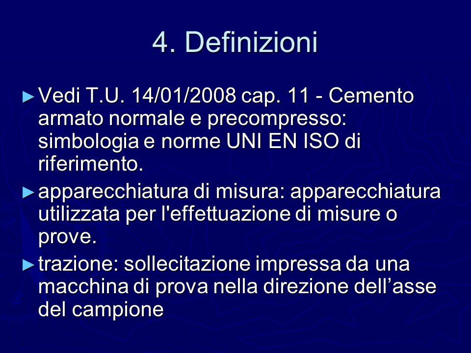 4. Definizioni Vedi T.U. 14/01/2008 cap. 11 - Cemento armato normale e precompresso: simbologia e norme UNI EN ISO di riferimento. Vedi T.U. 14/01/200