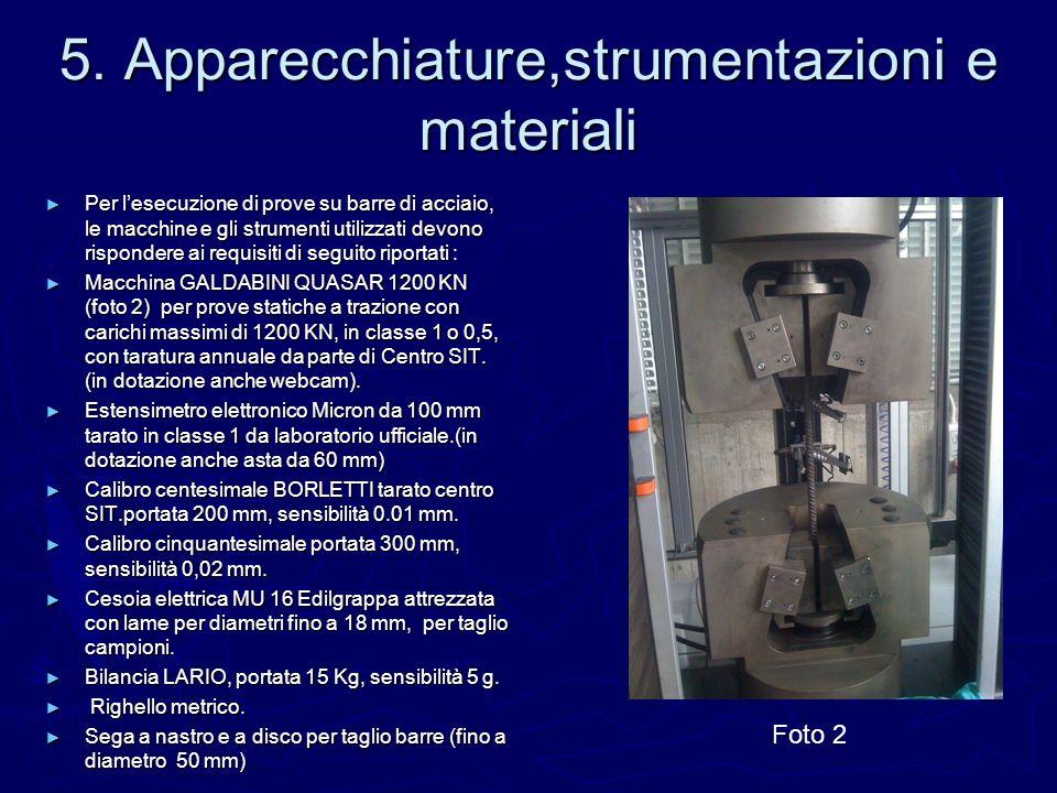 5. Apparecchiature,strumentazioni e materiali Per lesecuzione di prove su barre di acciaio, le macchine e gli strumenti utilizzati devono rispondere a