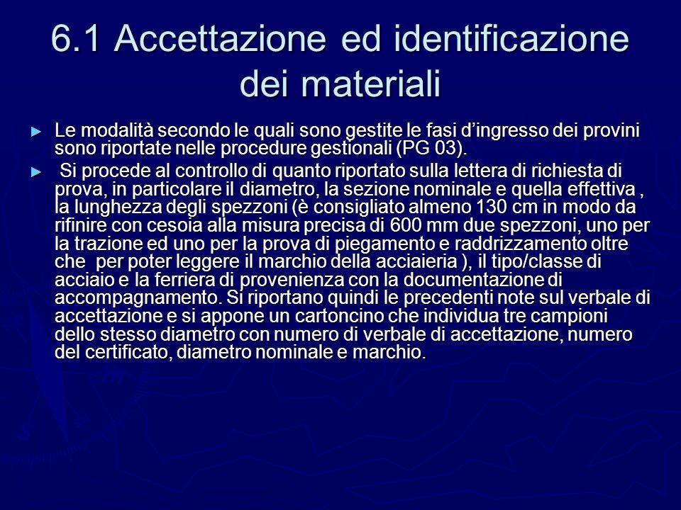 6.1 Accettazione ed identificazione dei materiali Le modalità secondo le quali sono gestite le fasi dingresso dei provini sono riportate nelle procedu