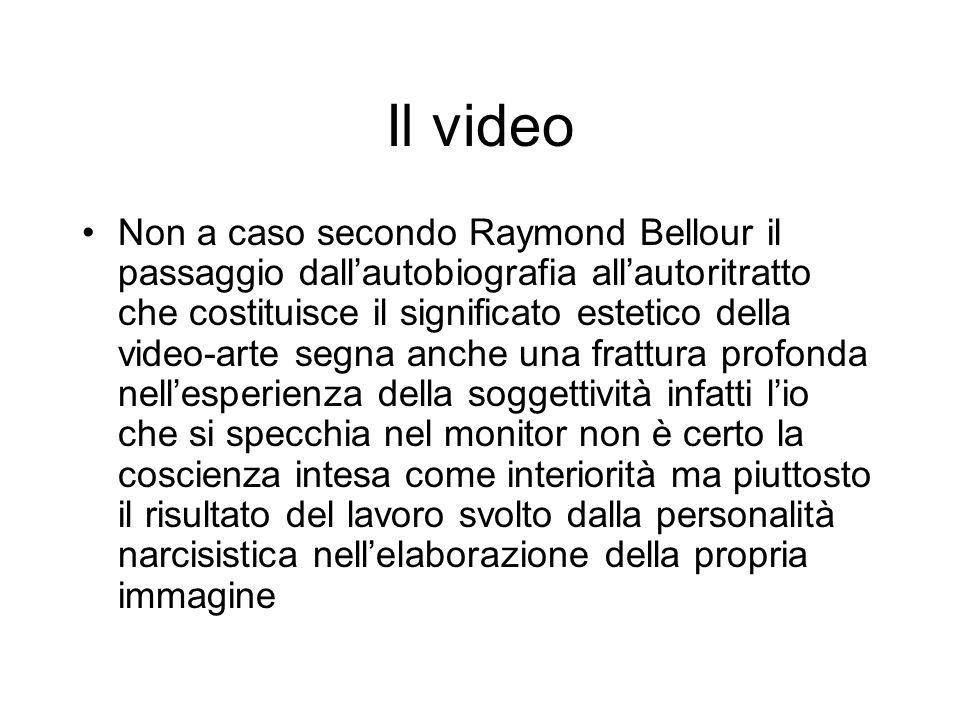 Il video Non a caso secondo Raymond Bellour il passaggio dallautobiografia allautoritratto che costituisce il significato estetico della video-arte se