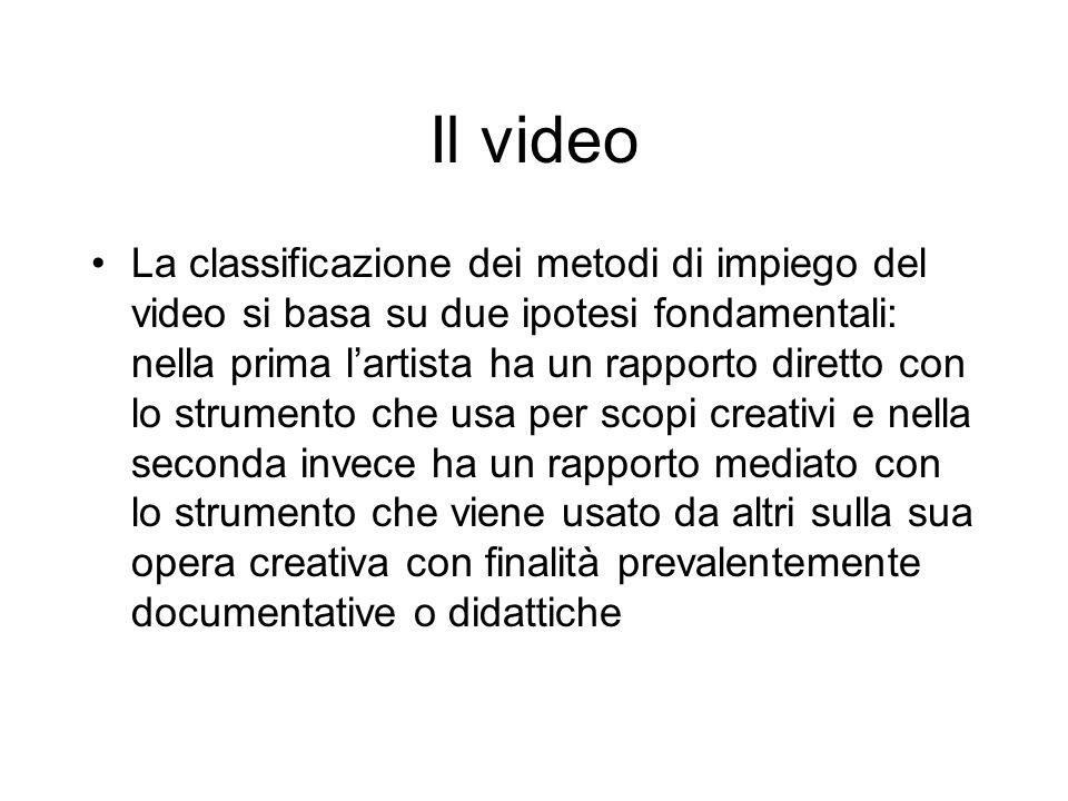 Il video La classificazione dei metodi di impiego del video si basa su due ipotesi fondamentali: nella prima lartista ha un rapporto diretto con lo st